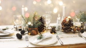 A dinner table set for the holidays